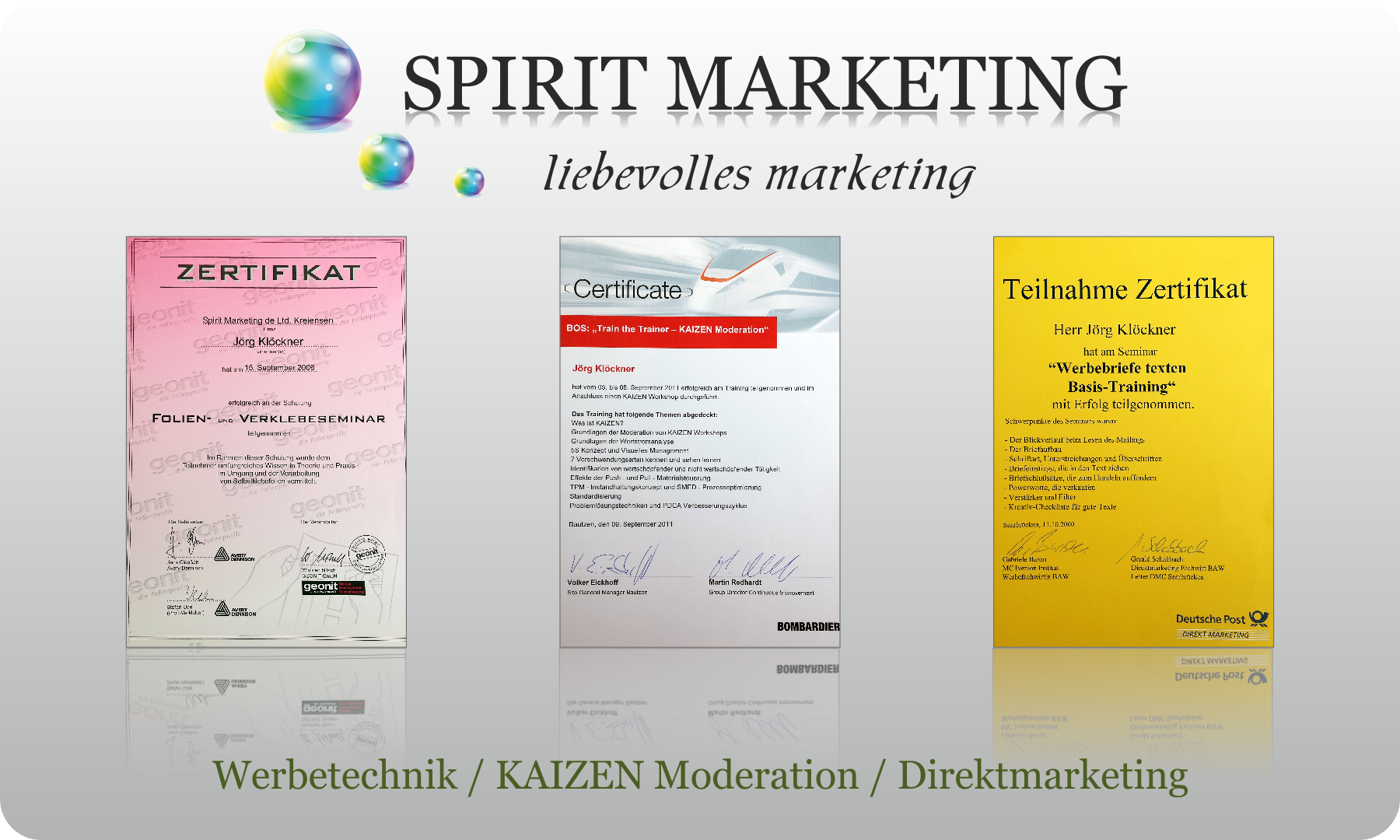 SPIRIT MARKETING - Spirit Werbetechnik - Zertifikate