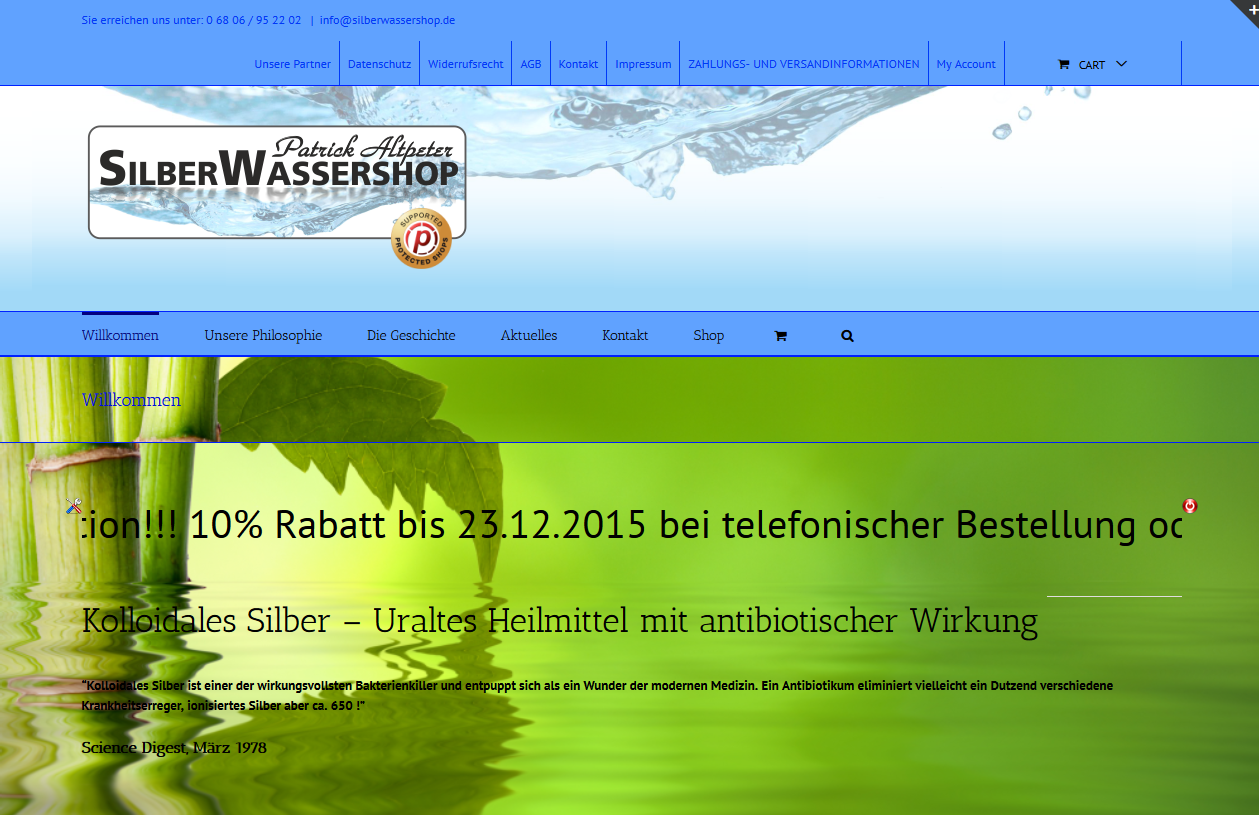SPIRIT MARKETING - Silberwassershop Webprojekt