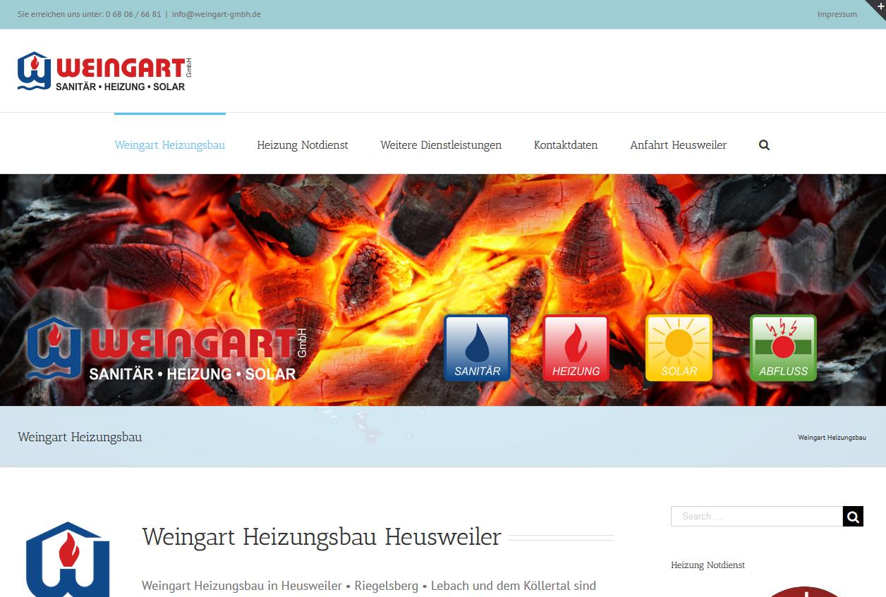 Landingpage für Weingart Heizungsbau Sanitär Heusweiler - Landeseite für den Heizungsbau