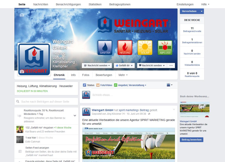 Weingart GmbH aus Heusweiler Facebook Seite durch SPIRIT MARKETING