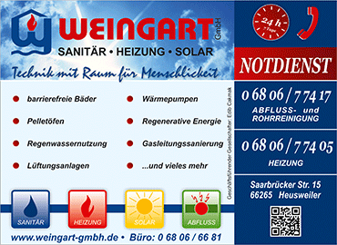 Weingart GmbH Heusweiler - Werbeanzeige Regional - Design SPIRIT MARKETING