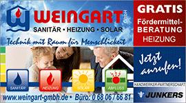 Weingart GmbH Heusweiler Heizung Förderung - Anzeige Regional