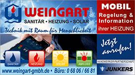 Weingart GmbH Heusweiler Heizungssteuerung Mobil - Anzeige Regional