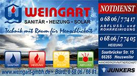 Weingart GmbH Heusweiler Heizung Abfluss- und Rohrreinigung Notdienst - Anzeige Regional
