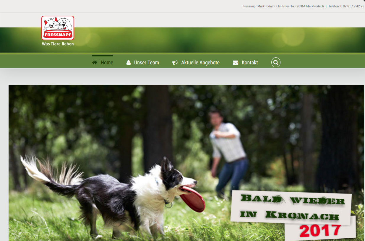 Fressnapf Kronach Webdesign SPIRIT MARKETING