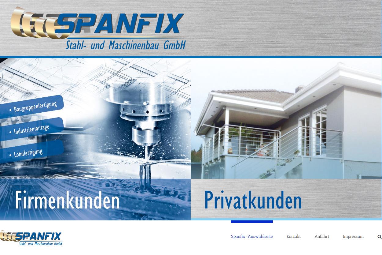 SPANFIX Stahl- und Maschinenbau GmbH Webdesign von SPIRIT MARKETING